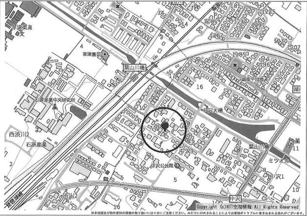 栗東市中沢3丁目売土地 57.94坪上物有